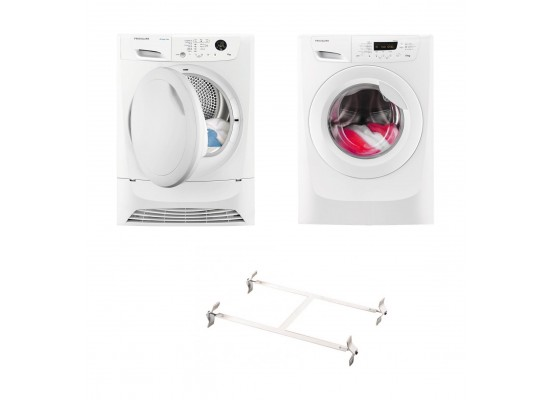 Wansa Washer and Dryer Stacking Unit - Stainless Steel + Frigidaire 8KG Front Loading Freestanding Dryer Condenser (FDC8203P) - White + Frigidaire 10kg Front Load Washing Machine - FWF01487W