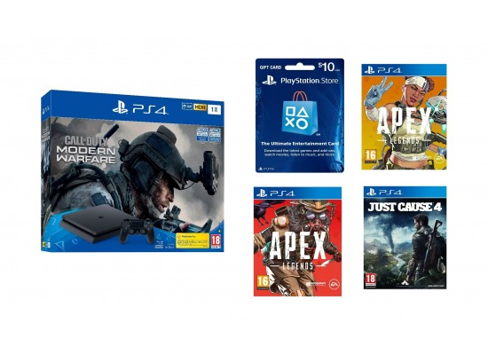 PlayStation 4 1TB Call of duty Edition + Just Cause 4 - PlayStation 4 Game + PSN Card USA $10 + Apex Legends Bloodhound Edition - PlayStation 4 Game + Apex Legends Lifeline Edition - PlayStation 4 Game