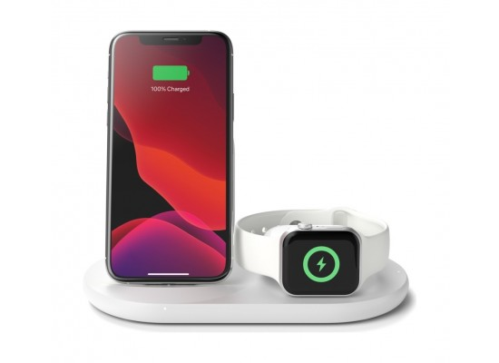 Belkin Boost Charge 3-in-1 Wireless Charger for Apple Devices - White