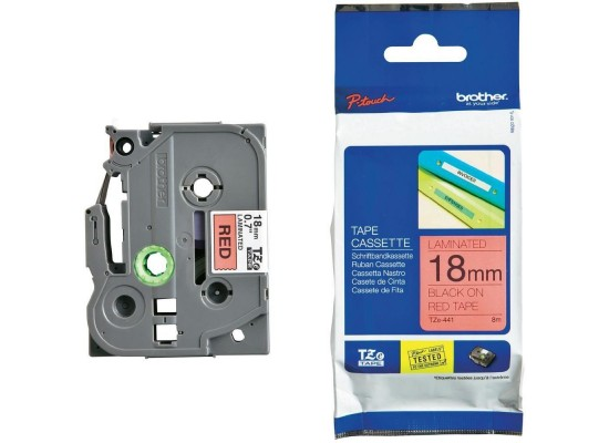 Brother 18mm Laminated Label Tape Black On Red (18TZ441)