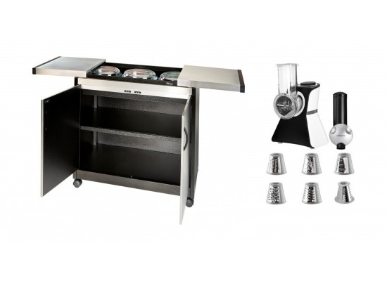 Wansa Food Warmer Trolley (TY-6001) - Brushed Steel + Wansa Salad Chopper & Ice Cream Maker - (VC02S)