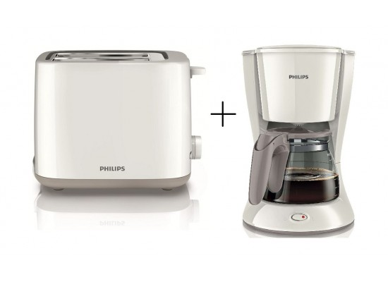 e69d1fe564d Philips Daily Collection Coffee Maker + Toaster (HD7447+HD2595) – White