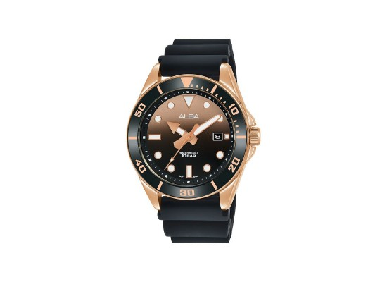 Alba 41mm Analog Gents Casual Silicon Watch (AG8K20X1) - Black