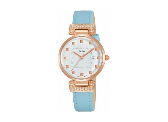 Alba Quartz 28mm Ladies Analog Leather Watch (AH7Q78X1) - Blue