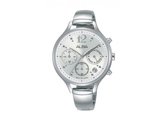 Alba 36mm Chronograph Ladies Leather Fashion Watch - AT3F05X1