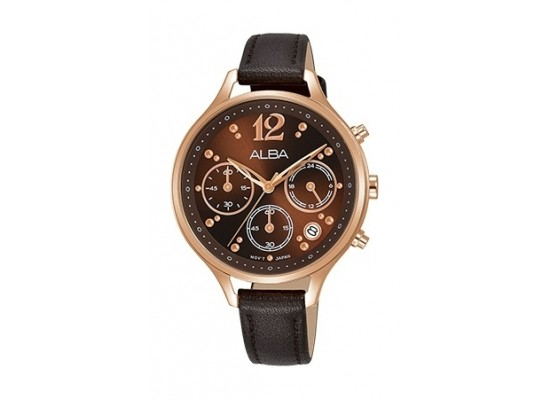 Alba 36mm Chronograph Ladies Leather Fashion Watch - AT3F06X1
