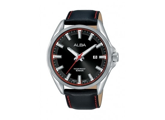 Alba 44mm Analog Gent's Leather Watch (AS9G87X1) - Black