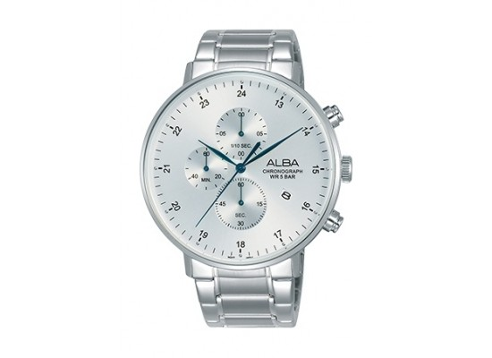 Alba 44mm Quartz Chronograph Gent's Metal Watch - AM3609X1