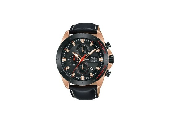Alba 45mm Chronograph Gents Leather Watch (AM3642X1) - Black