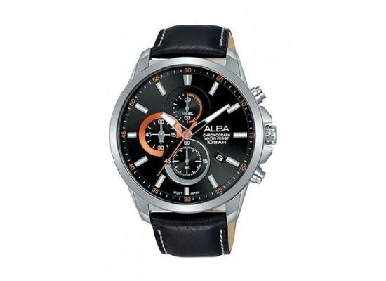Alba Quartz 44mm Chronograph Gent's Leather Watch - AM3657X1