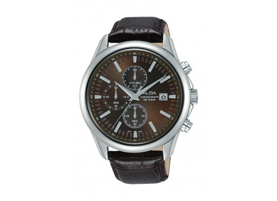 Alba 44mm Gent's Chronograph Leather Casual Watch - (AM3701X1)