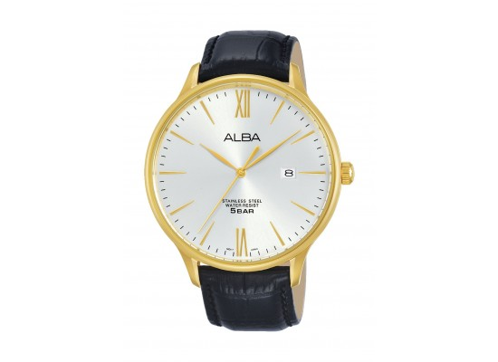 Alba Gents Casual Analog 44 mm Leather Watch (AS9E24X1) - Black