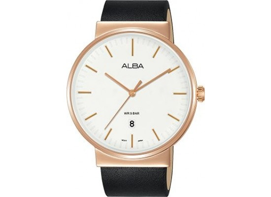 Alba 43mm Analog Gents Leather Watch (AS9G20X1) - Black