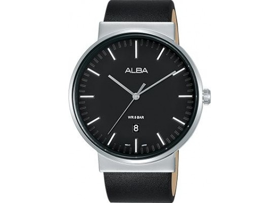 Alba 43mm Analog Gents Leather Watch (AS9G23X1) - Black