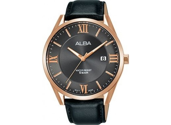 Alba 41mm Analog Gents Leather Watch (AH7R38X1) - Black