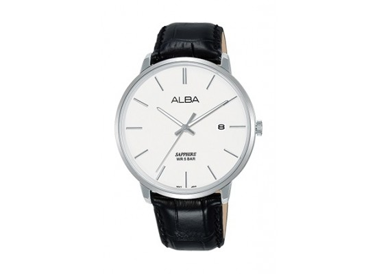 Alba 40mm Analog Gent's Leather Watch (AS9G71X1) - Black