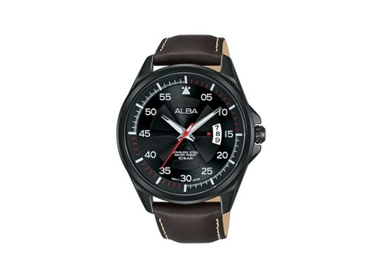 Alba Quartz 44mm Analog Gent's Leather Watch - AS9G99X1