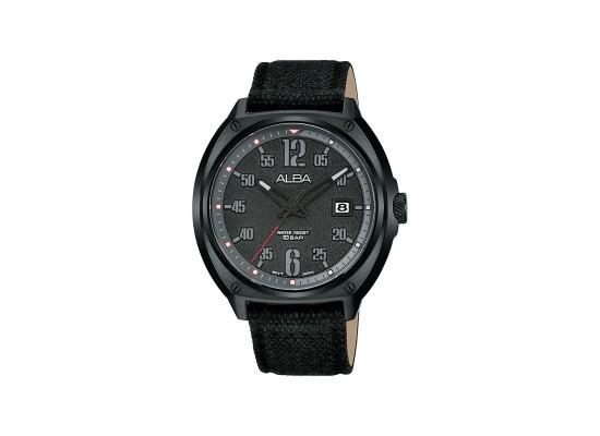 Alba 42mm Analog Gents Fabric Watch (AS9J37X1) - Black