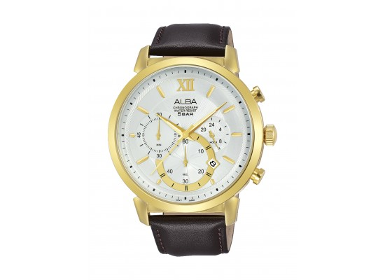 Alba Gent's Chronograph 40 mm Leather Watch (AT3C42X1) - Brown