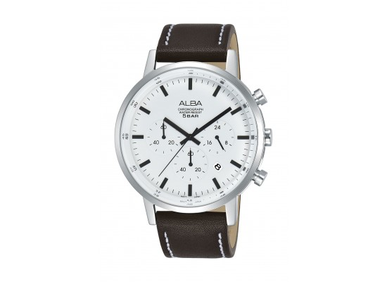 Alba Gents Casual Chronograph 42mm Leather Watch (AT3C59X1) - Brown