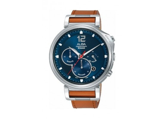 Alba Quartz 44mm Chronograph Gent's Leather Watch (AT3D71X1) - Brown