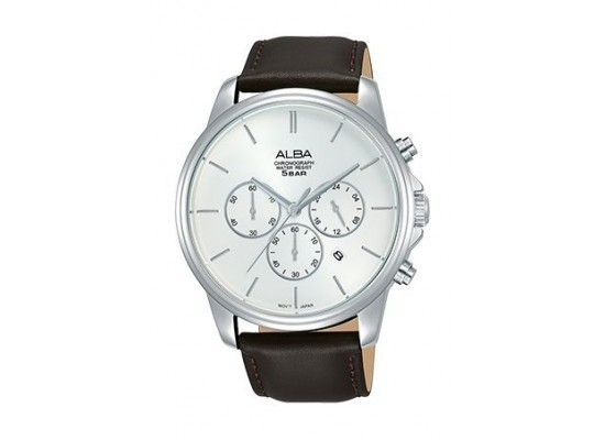 Alba Quartz 43mm Chronograph Gent's Leather Watch - AT3E45X1
