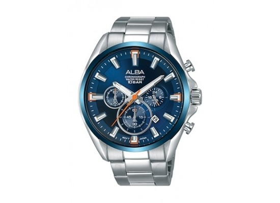 Alba 44mm Chronograph Gents Metal Watch (AT3E53X1) - Silver