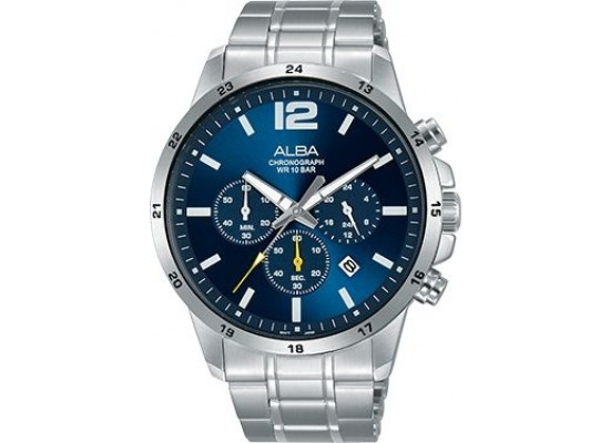 Alba 43mm Chronograph Gents Metal Watch (AT3E83X1) - Silver