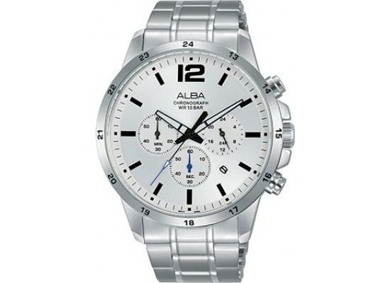 Alba 43mm Chronograph Gents Metal Watch (AT3E85X1) - Silver