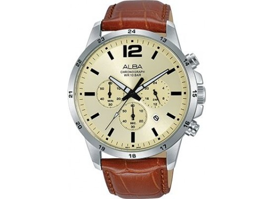 Alba 43mm Chronograph Gents Leather Watch (AT3E95X1) - Brown