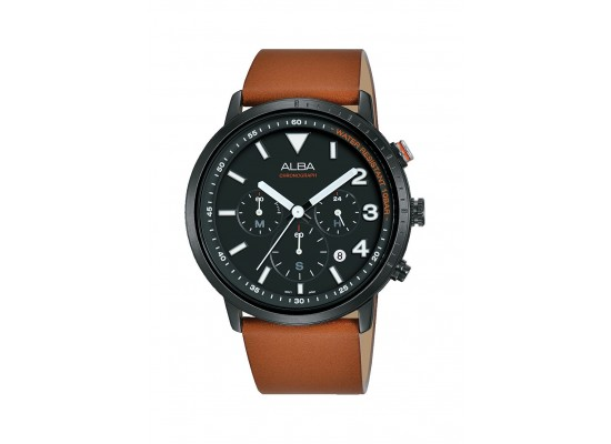 Alba 43mm Chronograph Gents Leather Watch (AT3F53X1)