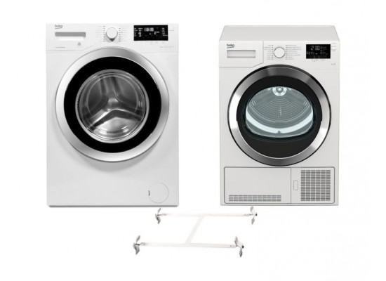 Beko 9KG 1400RPM Front Load Washing Machine + Beko 9 kg Front Loading Freestanding Condensation Dryer + Stacking Unit