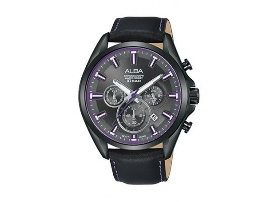 Alba 44mm Chronograph Gents Leather Watch (AT3E61X1) - Black