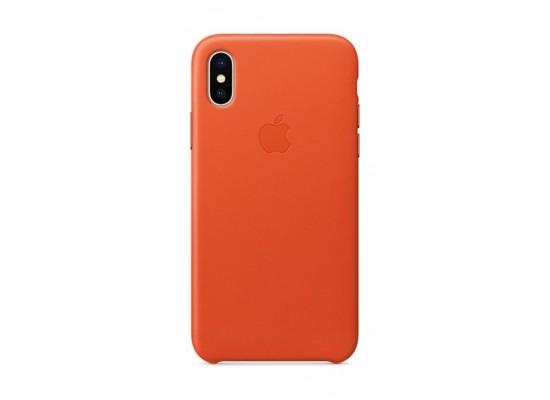 hot sales 908fd 52b48 Apple iPhone X Leather Case - Orange
