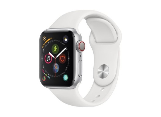 Apple Watch Series 4 GPS + Cellular, 40mm, Silver Aluminum Case With White Sport Band 1