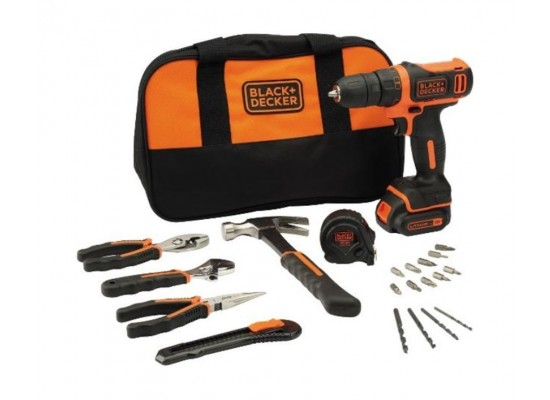 Black and Decker Cordless Drill Driver + Hand Tools Set + Bag - BDCDD12HTSA-B5