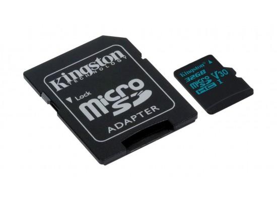 Kingston Canvas Go Class 10 U3 MicroSD Card + Adapter - 32GB 1