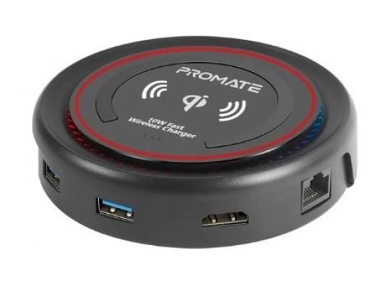 Promate CenterHub All-in-One USB-C Hub - Maroon