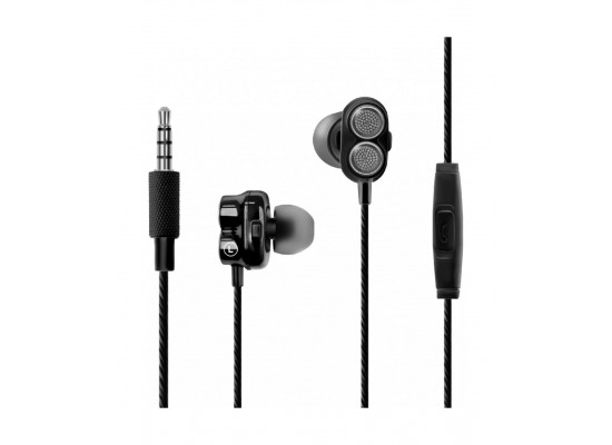 Promate HiFi Super Bass Earphone - Onyx Black
