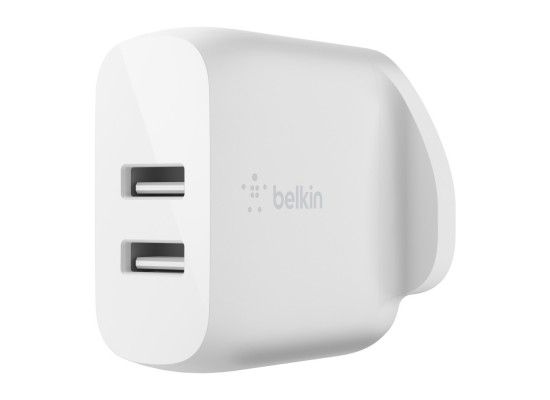 Belkin Boost Charge Dual USB-A Wall Charger 24W + 1M USB-A to Lightning Cable - White