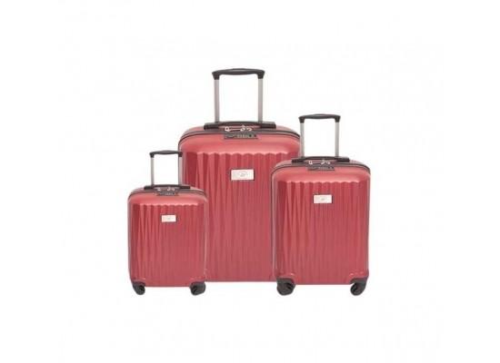 US Polo Calypso Set Of 3 Hard Luggage - Red