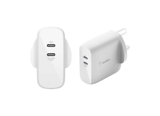 Belkin Boost Charge Dual USB-C PD GAN Wall Charger 63W – (WCH003myWH)