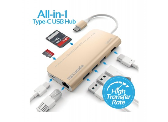 Promate CorHub-C Premium High-Speed 8-in-1 USB 3.1 Type-C USB Hub (COREHUB-C.GOLD) -  Gold