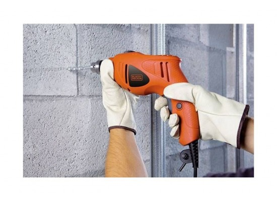 Black+Decker Hammer Drill 500W + 5 Accessories (HD5010A5-B5) - Orange