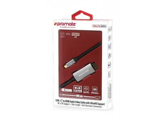 Promate USB-C to HDMI Audio Video Cable 1.8-Meters - Grey