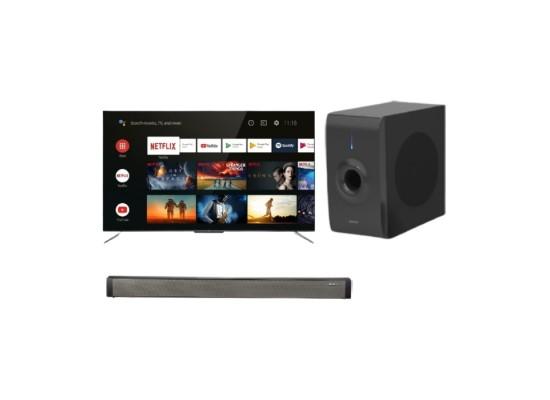 TCL 50-inch Smart QLED UHD Television - (50C715) + Wansa Soundbar 30W (LY-S218W) + Wansa Subwoofer 30W (LY-S218W)