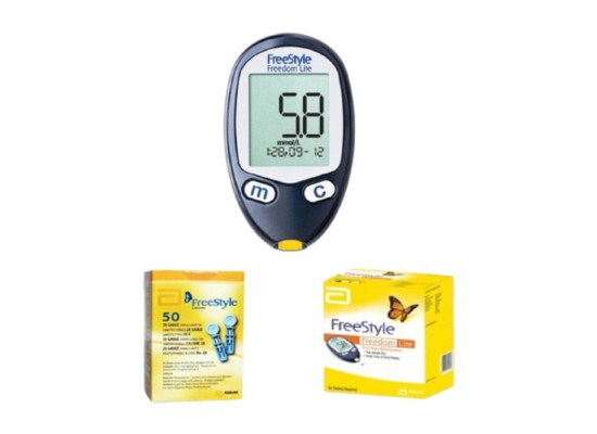 Omron Freestyle Glucometer (7108770)) + Strips + Lancets