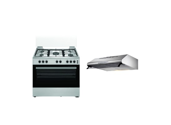 Wansa 90x60cm 5 Burners Free Standing Gas Cooker (WCT9502124X) – Stainless Steel + Lagermania 90cm Undercabinet Cooker Hood - Stainless Steel (K90TUSX/19)