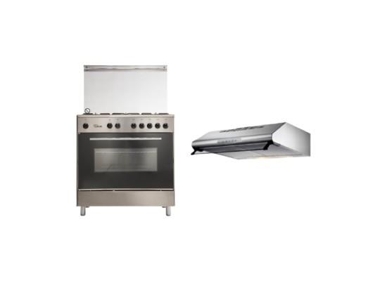 Wansa 80x50 Floorstanding Gas Cooker (WE8050X) + Lagermania 80cm Under-Cabinet Cooker Hood