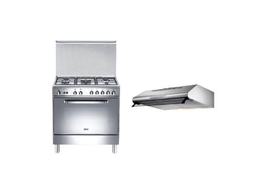 Wansa 80x50 cm 5-Burner Floor Standing Gas Cooker (WC18502114X) + Lagermania 80cm Under-Cabinet Cooker Hood